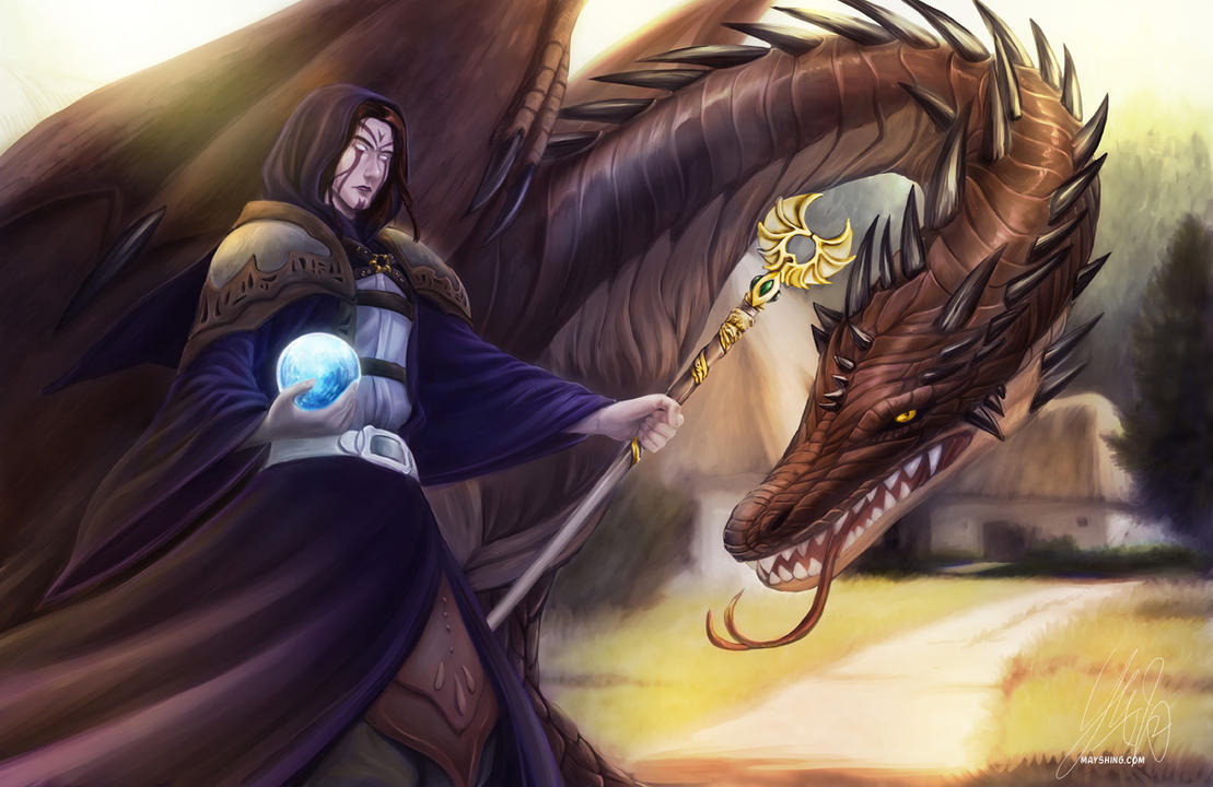 commission wizard and dragon by mayshing on deviantart