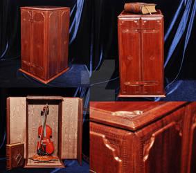 Ornamental violin display bound in leather