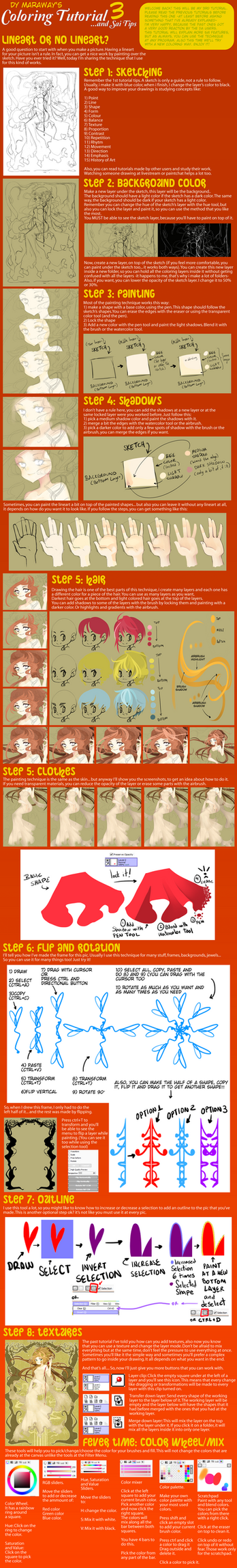 Coloring Tutorial and Sai Tips 3 by DyMaraway