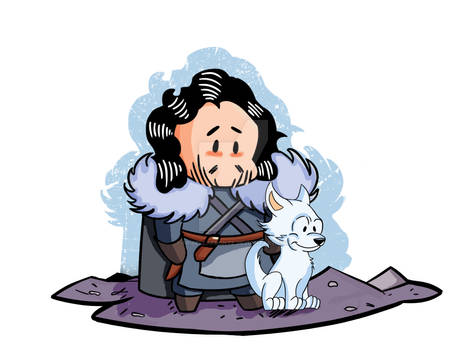 Game of Thrones - Chibi Jon Snow and Ghost