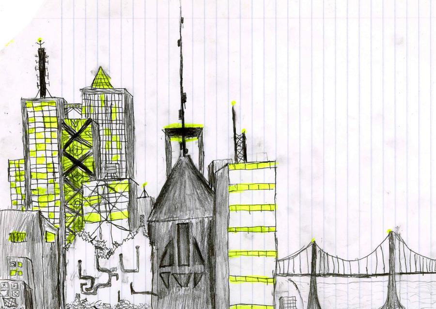 Pencil Cityscape by alienscorch