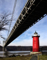 Little red lighthouse under the great gray bridge by NDCott