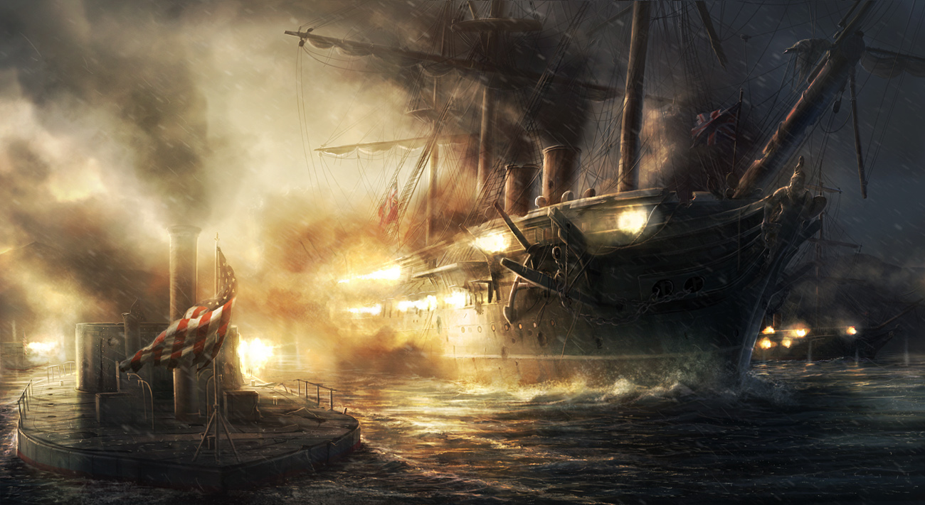 A suppositious conflict between USS Monitor and HMS Warrior as illusory by deviantart user RadoJavor, who has finished design for several installments of a sum fight series.