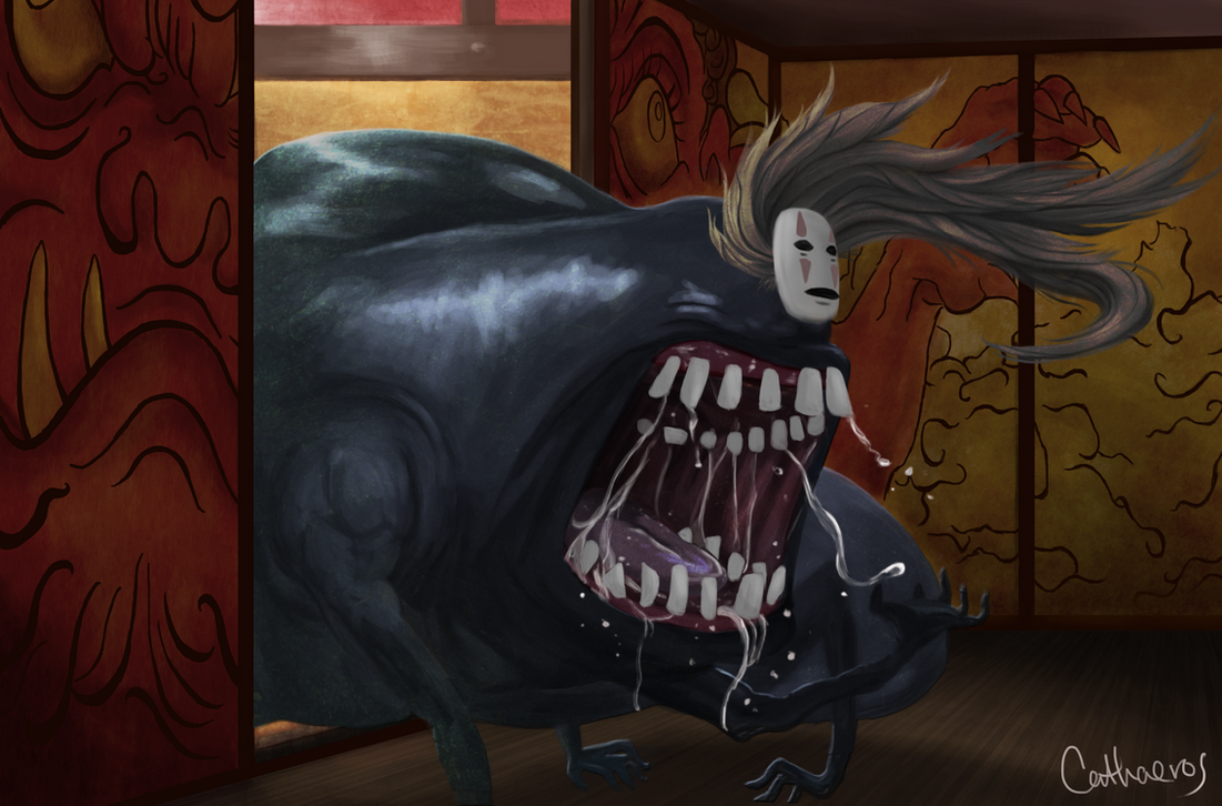 spirited away no face voracious by cathaeros on deviantart