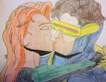 Jean Grey kissing Cyclops by american069