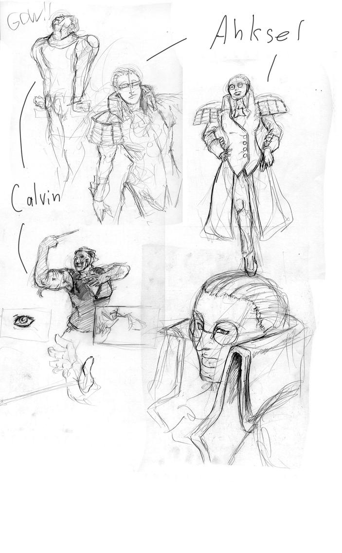 Ahksel and Calvin sketches galoo by Areku23