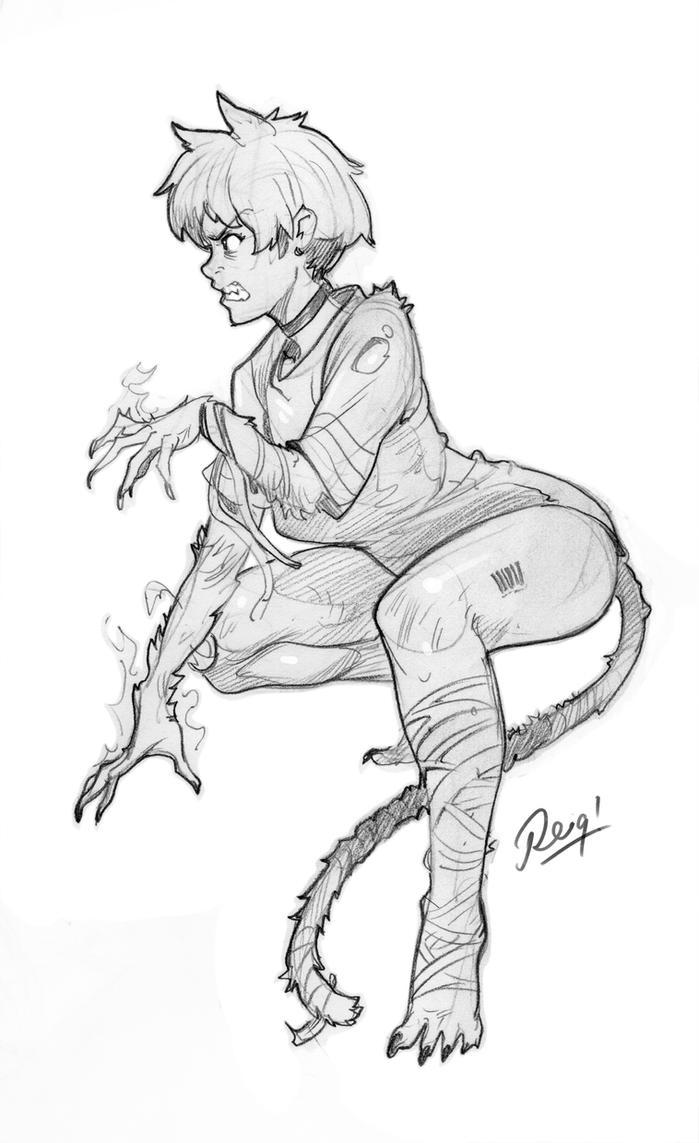 Pissed off Cat Girl by reiq