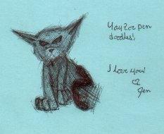 Pen Doodle Kitty by fox0r