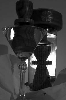 water and glass in greyscale