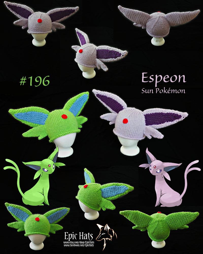 Knit Espeon-inspired Hats by aetherfang