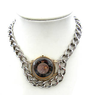 Chain Wrapped Clock Necklace