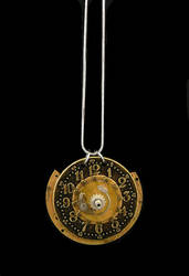 Gold Clock Pendant by bahgee