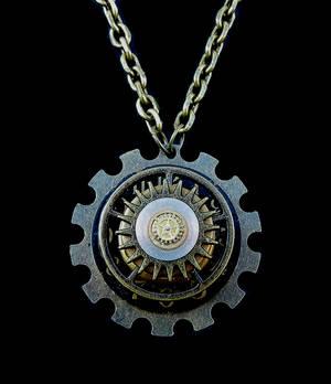 Layered Black Clock pendant