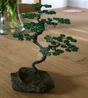 Miniature wire bonsai tree sculpture + seed beads