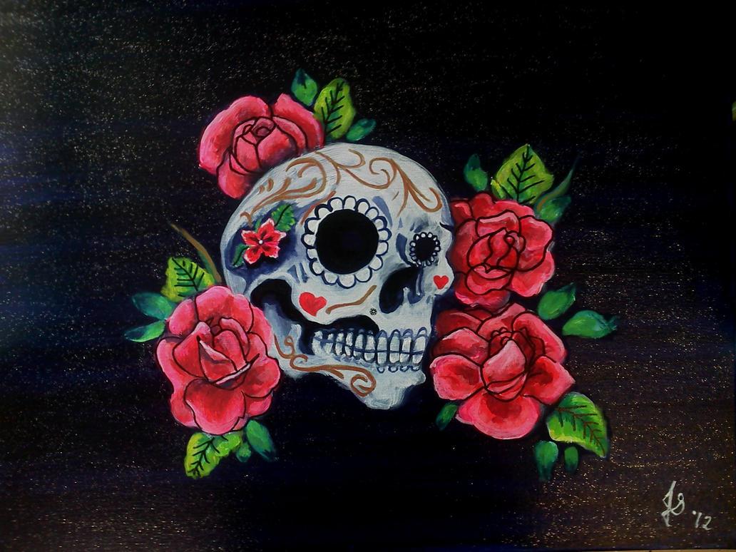 Sugar Skull Painting Red White Black