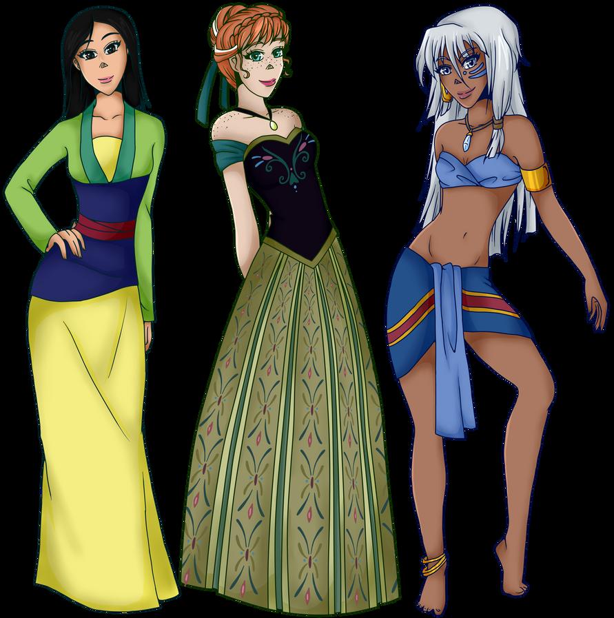Disney Princesses - Batch 3 - Mulan, Anna and Kida by Setsuna-Yena on ...