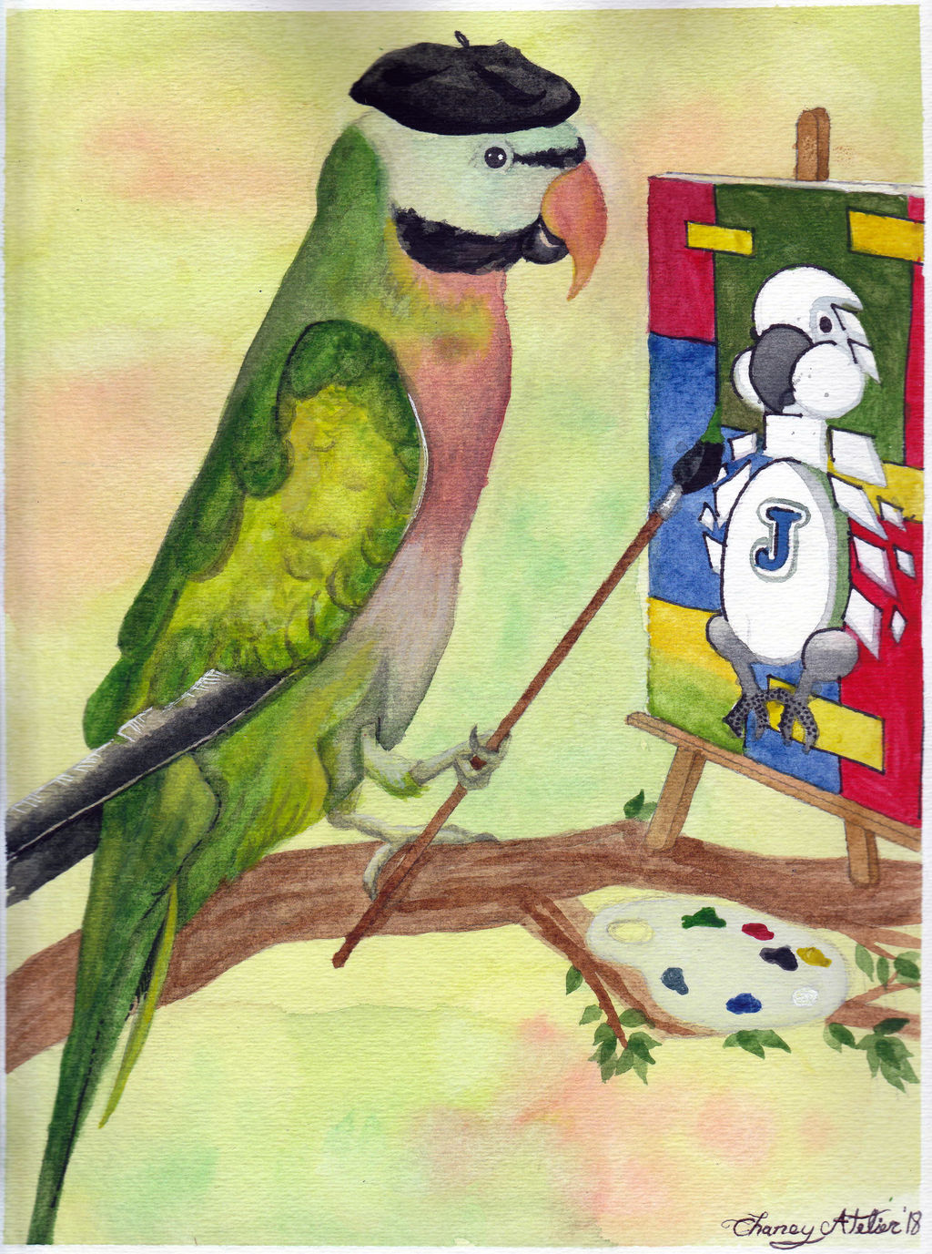 Picasso the Mustache Parakeet by Megal0don on DeviantArt