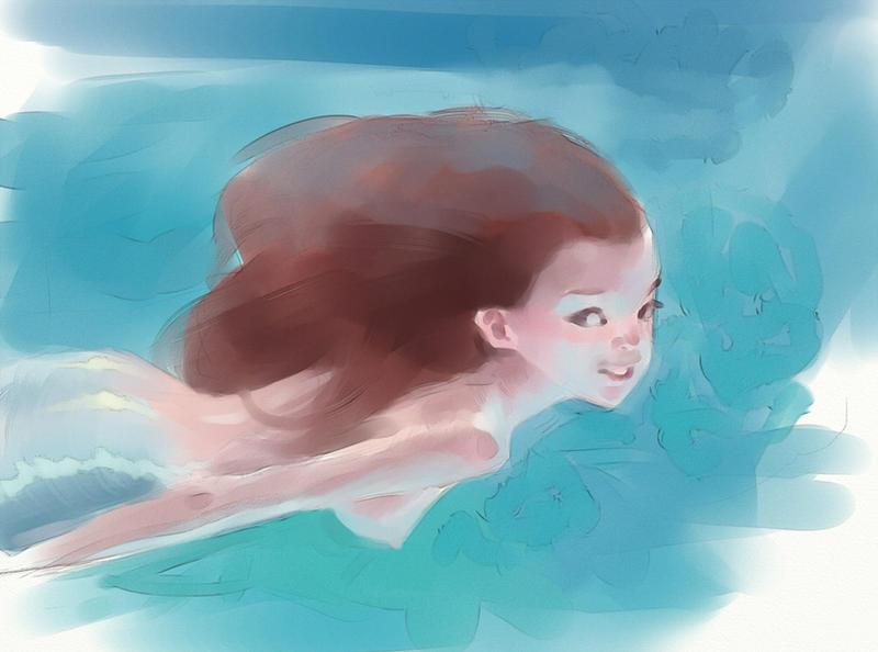 Mermaid (digital watercolor practice) by whiskypaint