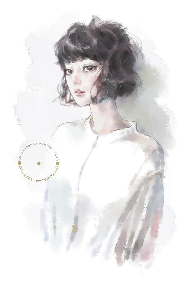 Portrait doodle (digital watercolor study) by whiskypaint