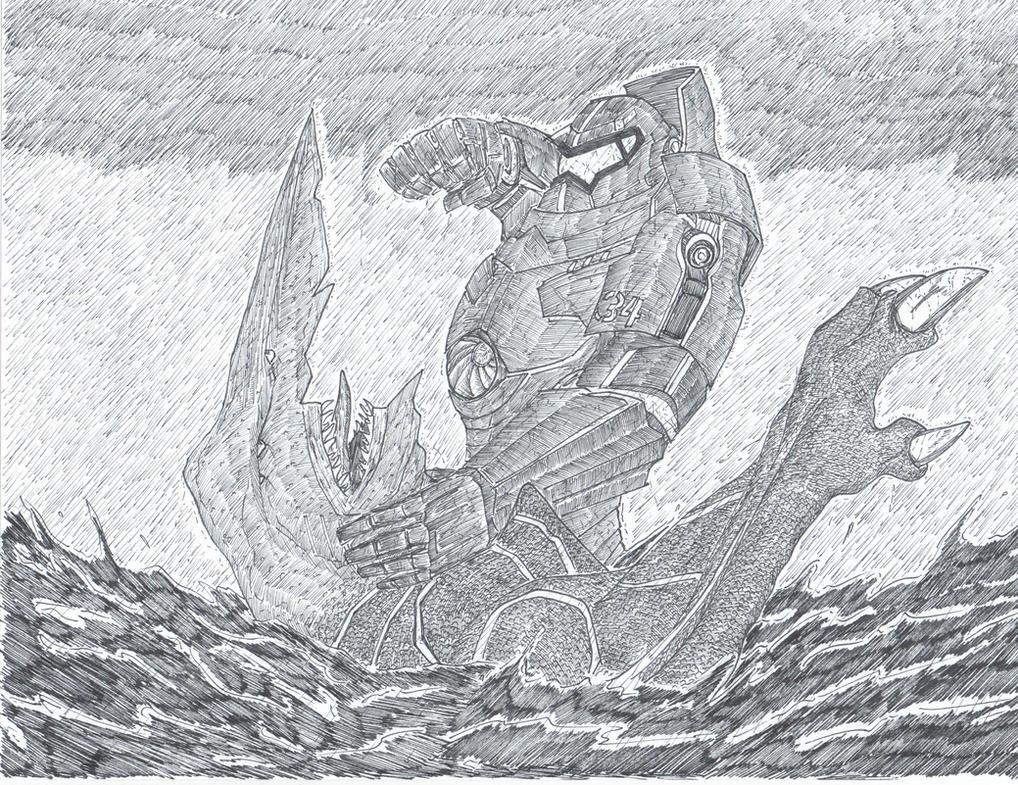 Pacific Rim-Gipsy Danger vs. Knifehead by Hydro0228 on ... Pacific Rim Gipsy Danger Drawing