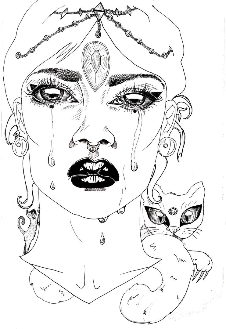 Sad woman and her cat - Sketchbook by Oddoproject
