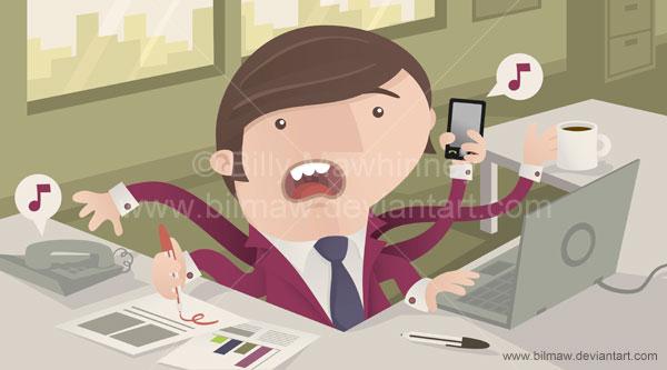 Busy Office Worker by bilmaw
