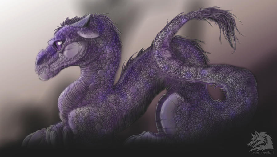 Purple Baby Dragon by LycanthropeHeart