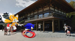 Sonic and Tails run to the Mitsukoshi Store