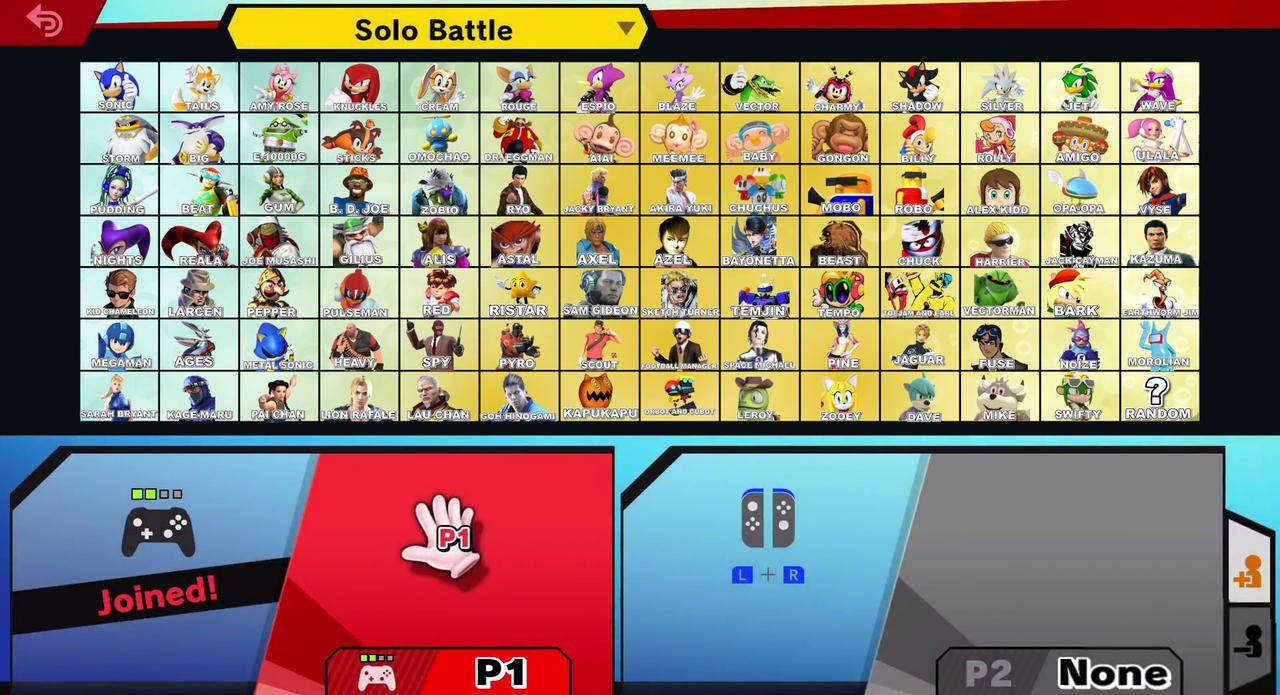 Sega Smash Bros Ultimate Roster (MY VERSION)