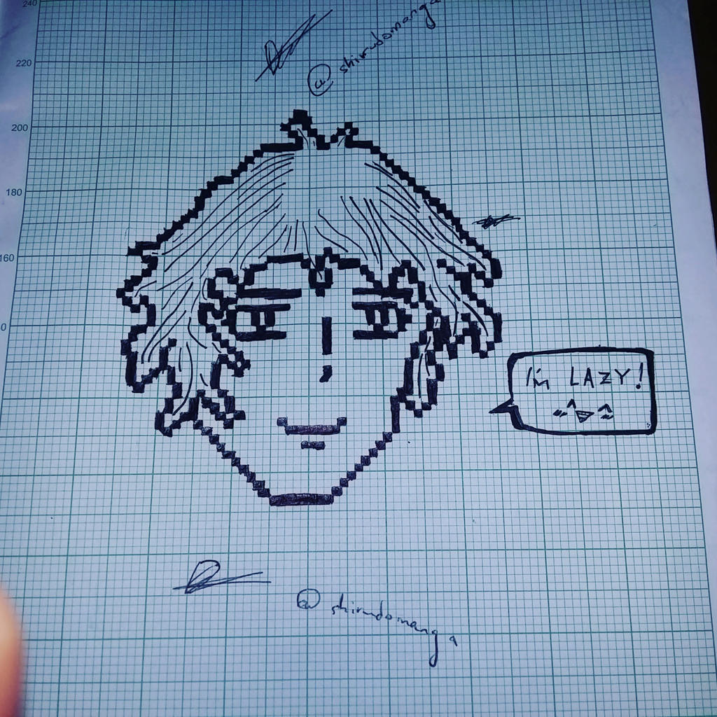random pixel art on a random graph paper by shirudomanga
