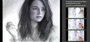 Emma Stone Charcoal Portrait