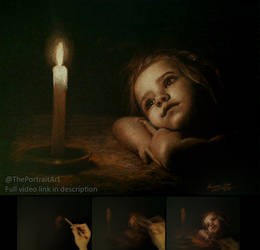 Wish upon a candle - child pastel drawing by theportraitart