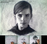 Drawing Emma Wastson in Charcoal 2