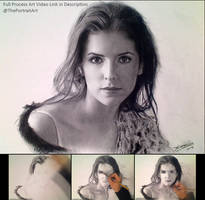Anna Kendrick Charcoal Portrait Drawing (Video) by theportraitart