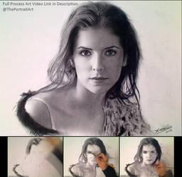 Anna Kendrick Charcoal Portrait Drawing (Video)