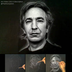Alan Rickman / Snape Portrait on black paper