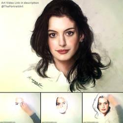 Anne Hathaway Portrait in Pastel