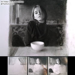 Girl in the coffee shop - Charcoal Drawing