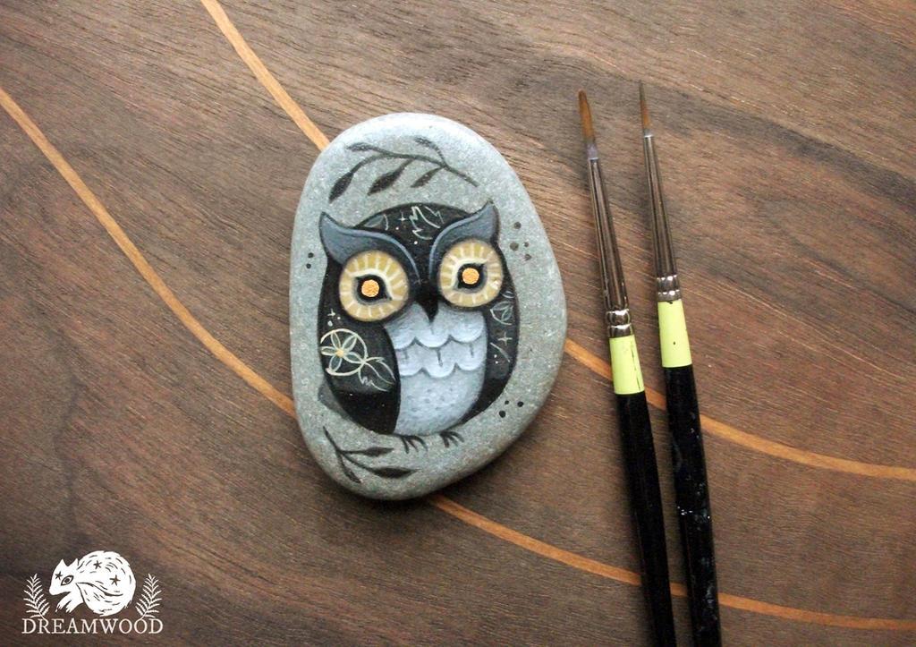 Black, Gold and Copper Folk Owl by JillHoffman