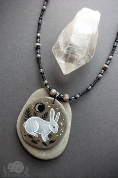 White Rabbit, Silver Moon Stone Pendant Necklace