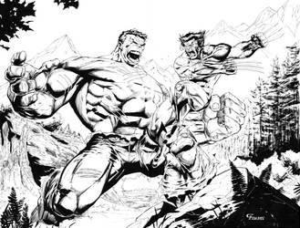 Hulk vs Wolverine commission by camadams0925