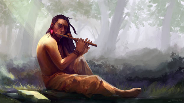 Eagle Leader playing the flute