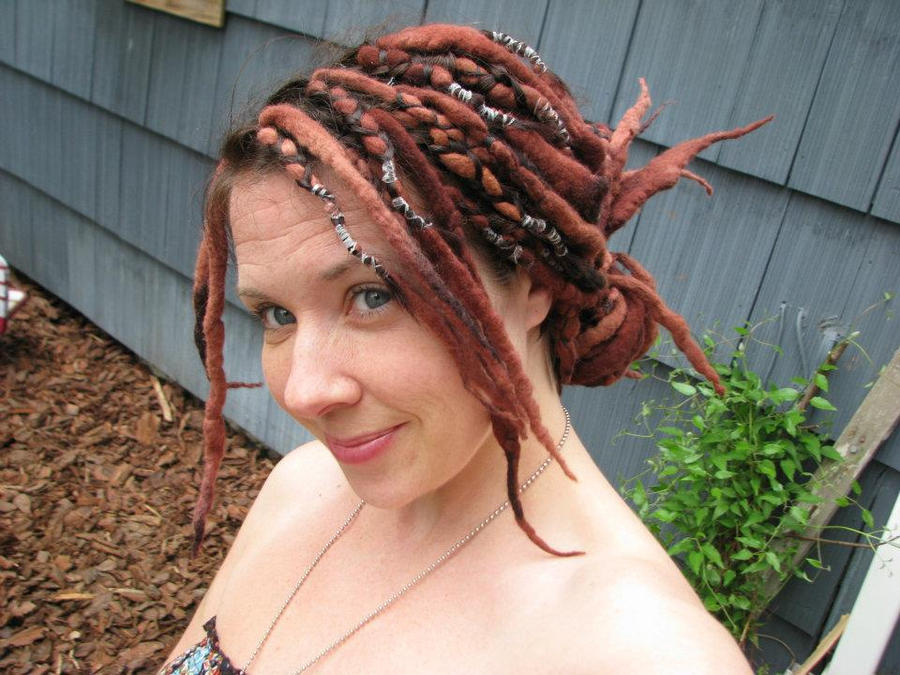 Brown Wool Dreads Tied With Black String Hair Extensions Forum