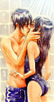 First kiss while showering