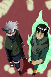 Naruto 566-Kakashi and Gai by Salty-art