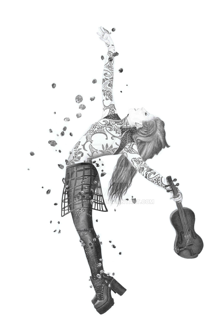Lindsey Stirling Brave Enough Pencil Drawing by MilanRKO