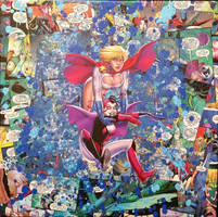 Harley Quinn and Power Girl DC Comic Collage