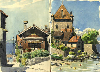 Yvoire (watercolor sketch on location) by Uehara