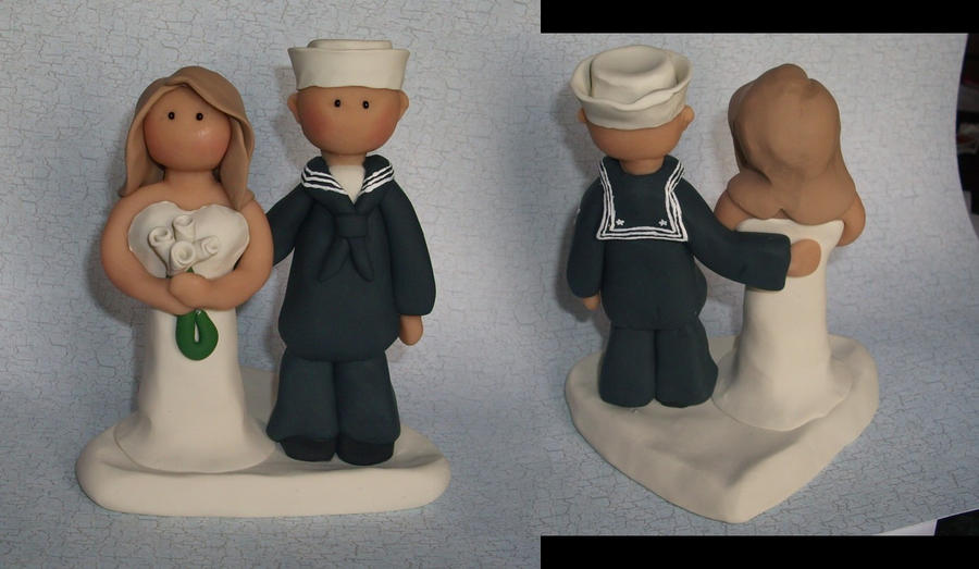 Navy Wedding Cake Topper by gingerbabies on deviantART