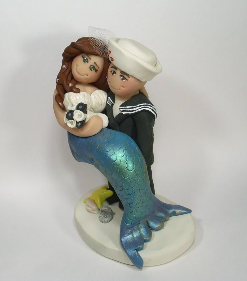 Mermaid Bride Cake Topper